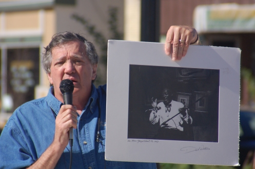 Dick Waterman presents rare blues print to the Village of Grafton