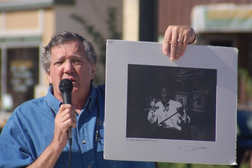 Dick Waterman presents rare blues print to the Village of Grafton