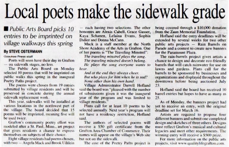 Poetry Paths Ozaukee Press March 17 2011