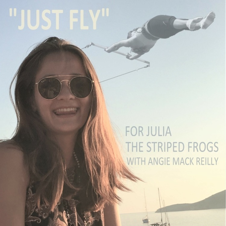 photo of Julia, text reads Jusy Fly for Julia The Striped Frogs with Angie Mack Reilly