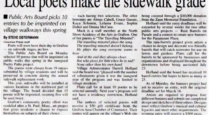 Ozaukee Press Article About Angie's Award Winning Poems
