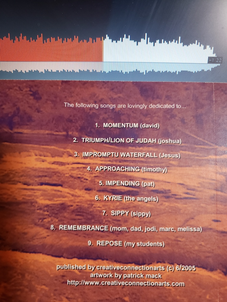 Momentum Instrumental CD by Angie Mack Reilly back cover 2005